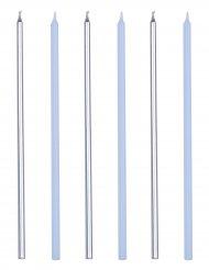 16 Bougies géantes bleu et argenté métallique 18 cm