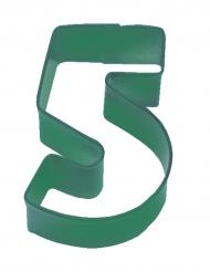 Emporte pièce chiffre 5 vert 7.5 cm