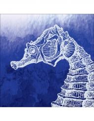 24 Petites serviettes en papier Hippocampe bleu 25 x 25 cm