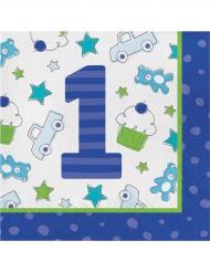 16 Serviettes en papier 1er anniversaire bleu 33 x 33 cm