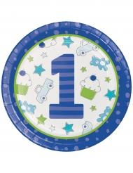 16 Assiettes en carton 1er anniversaire bleues 22 cm