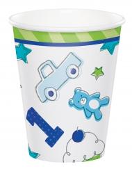 8 Gobelets en carton 1er anniversaire bleu 266 ml