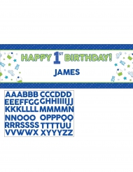 Bannière en carton personnalisable 1er anniversaire bleu 152 cm