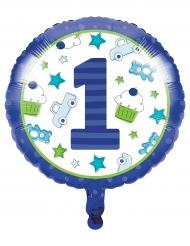 Ballon aluminium 1er anniversaire bleu 45 cm
