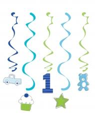 6 Suspensions 1er anniversaire bleu 99 cm
