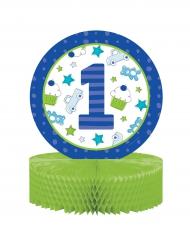 Centre de table 1er anniversaire bleu 30,5 cm