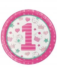 16 Assiettes en carton 1er anniversaire rose 22 cm