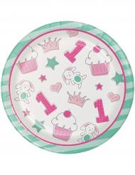 16 Petites assiettes en carton 1er anniversaire rose 18 cm