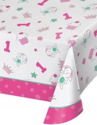 Nappe en plastique 1er anniversaire rose 137 x 259 cm