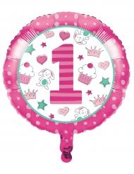 Ballon aluminium 1er anniversaire rose 45 cm