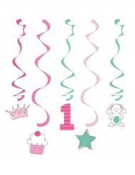 5 Suspensions 1er anniversaire rose et menthe 99 cm