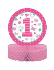 Centre de table 1er anniversaire rose 30,5 cm