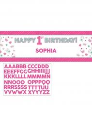 Bannière en carton personnalisable 1er anniversaire rose 152 cm