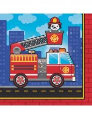 16 Serviettes en papier Camion de Pompier 33 x 33 cm