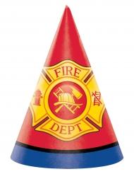 8 Chapeaux de fête en carton Pompier 15 x 10 cm