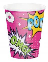 8 Gobelets en carton Super-héros fille 266 ml