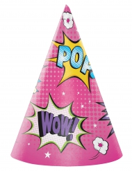 8 Chapeaux de fête Super-héros fille