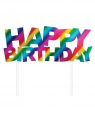 Décoration pour gâteau Happy Birthday arc-en-ciel 15 cm
