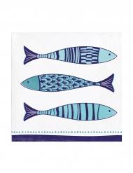 24 Petites serviettes en papier Méditerranée 25 x 25 cm