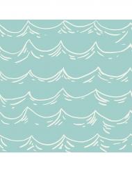 16 Serviettes en papier Vagues 33 x 33 cm