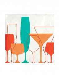 24 Petites serviettes en papier Verres Retro 25 x 25 cm