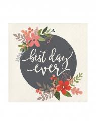 24 Petites serviettes en papier Best Day Ever 25 x 25 cm