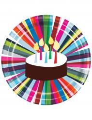 10 Assiettes en carton Gâteau d'anniversaire 23 cm