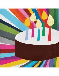 20 Serviettes en papier Gâteau d'anniversaire 33 x 33 cm