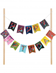 Décoration pour gâteau Happy Birthday en banderole