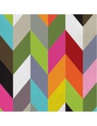 20 Serviettes en papier Chevrons multicolores 33 x 33 cm