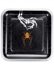8 Assiettes en carton Araignée Maudite orange 23 cm
