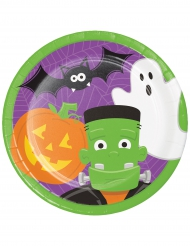 8 Assiettes en carton Halloween Fun vert, violet, orange 23 cm
