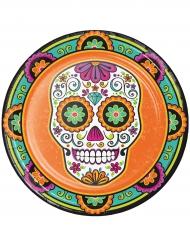 8 Assiettes en carton Dia de los Muertos orange 23 cm