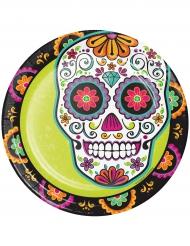 8 Petites assiettes en carton Dia de los Muertos vertes 18 cm