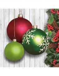 16 Serviettes en papier Boules de Noël vertes et rouges 33 x 33 cm