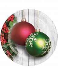 8 Assiettes en carton Boules de Noël vertes et rouges 23 cm
