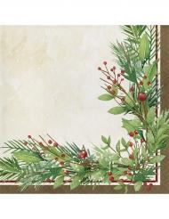 16 Serviettes en papier Couronne de Noël vertes 33 x 33 cm