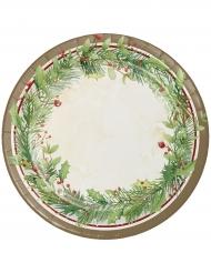 8 Assiettes en carton Couronne de Noël vertes 23 cm