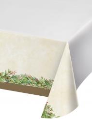Nappe en plastique Couronne de Noël verte 137 x 274 cm