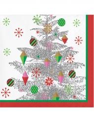 16 Serviettes en papier Sapin de Noël argenté 33 x 33 cm