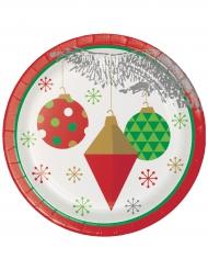 8 Petites assiettes en carton Sapin de Noël argenté 18 cm