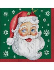 16 Serviettes en papier Père Noël vertes 33 x 33 cm