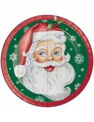8 Assiettes en carton Père Noël vertes 23 cm