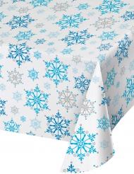 Nappe en plastique Flocons de Neige blanc et bleu 137 x 274 cm