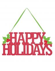 Décoration de porte Happy Holidays pailleté 33 cm