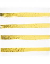16 Serviettes en papier rayées blanc et doré 33 x 33 cm
