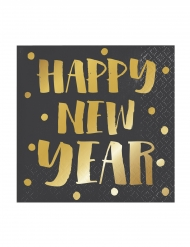 16 Petites serviettes en papier Happy New Year 25 x 25 cm