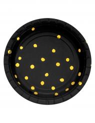 8 Petites assiettes en carton noires et pois dorés 18 cm