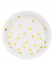 8 Petites assiettes en carton blanches et dorées à pois 18 cm