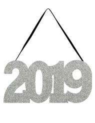 Décoration de porte 2019 argenté pailleté 30,48 x 13,34 cm